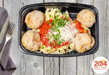 Turkey Meatballs with Fettuccini and Marinara