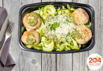 Turkey Meatballs with Zucchini Noodles & Pesto | Keto