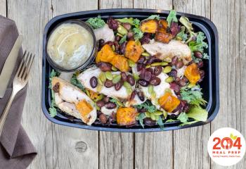 Black Bean Kale Super Salad with Grilled Chicken